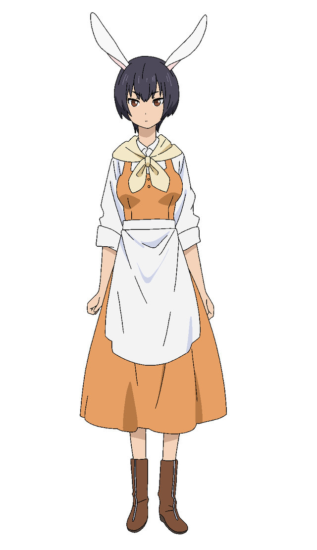 Momo, a rather unimpressed looking bunny girl in a peasant blouse, dress, and apron.