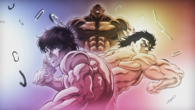 Baki Hanma, Biscuit Oliva y Jun Guevara flexionan sus músculos mientras están rodeados de eslabones de cadena rotos en una escena de la animación final de la próxima serie de anime de Netflix Baki: Son of Ogre.