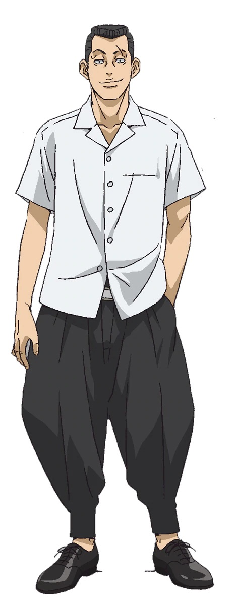 A character setting of Masataka Kiyomasa, a delinquent with a crew cut hairstyle and a prominent scar over his left eyebrow from the upcoming Tokyo Revengers TV anime.