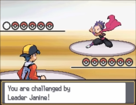 A screenshot from Pokémon HeartGold and SoulSilver, showcasing a battle against Janine