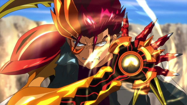 A screen capture from the S-Cry-Ed anime series, featuring supporting charater Kunihiko Kishima in his enhanced battle form.