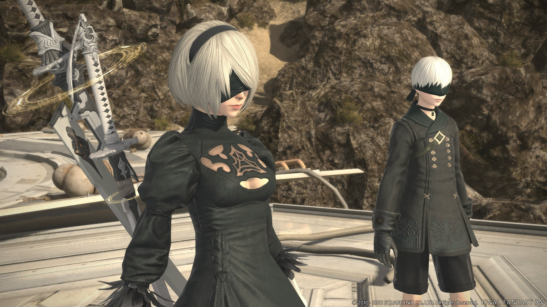 2B and 9S from NieR:Automata make a guest appearance as NPC's in Patch 5.5 of the Shadowbringers expansion for the Final Fantasy XIV video game.