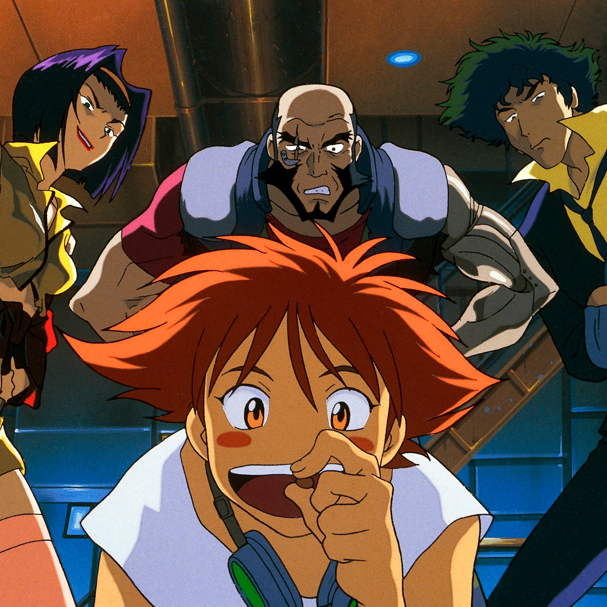 Faye Valentine, Jet Black, and Spike Spiegel glare at Ed as she prepares to eat the last morsel of food on the ship in a scene from the Cowboy Bebop TV anime.