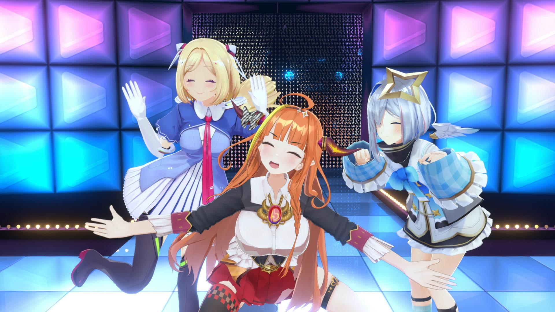 Coco, Kanata, and Aki of Hololive