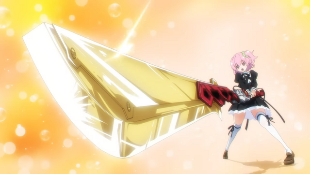"Riri Hitotsuyanagi strikes a heroic pose with her massive ""Charm"" buster sword in a scene from the upcoming Assault Lily BOUQUET TV anime."