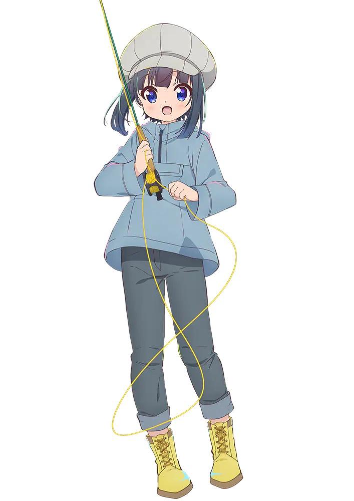 Un personaje visual de Hiyori Minagi del próximo anime de televisión Slow Loop.  Hiyori es una joven sin pretensiones con cabello azul y ojos azules, y usa un sombrero, una chaqueta, jeans y botas mientras empuña una caña de pescar con mosca.