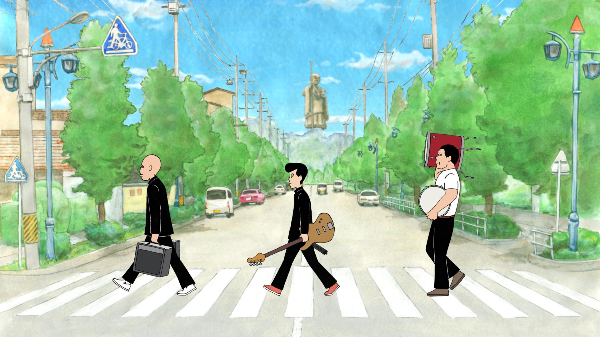 """Kenji, Ota y Asakura recrean inadvertidamente la portada del álbum Abbey Road de los Beatles mientras se fugan con el equipo de la banda. """"prestado"""" desde la sala del club de música en una escena de la película de anime teatral ON-GAKU: Our Sound."""