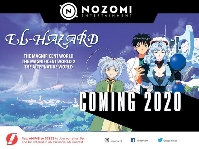 An advertisement for Nozomi Entertainment's upcoming 2020 Bluray release of El-Hazard: The Magnificent World.