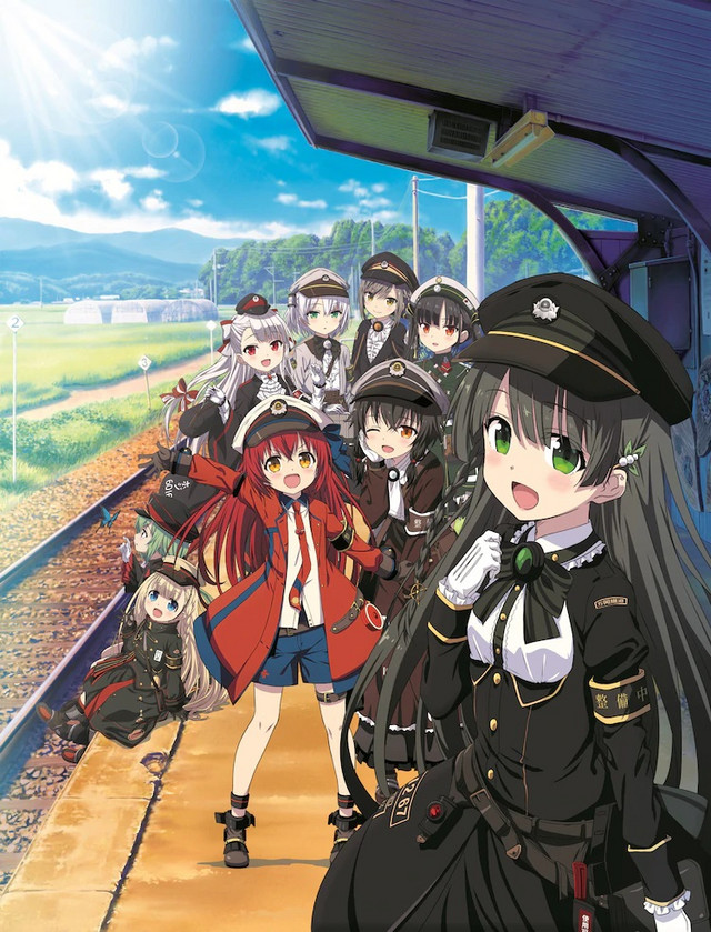 """A key visual for the upcoming Rail Romanesque short form TV anime, featuring the main cast of """"Railords"""" - girls who represent various trains and railway stations."""