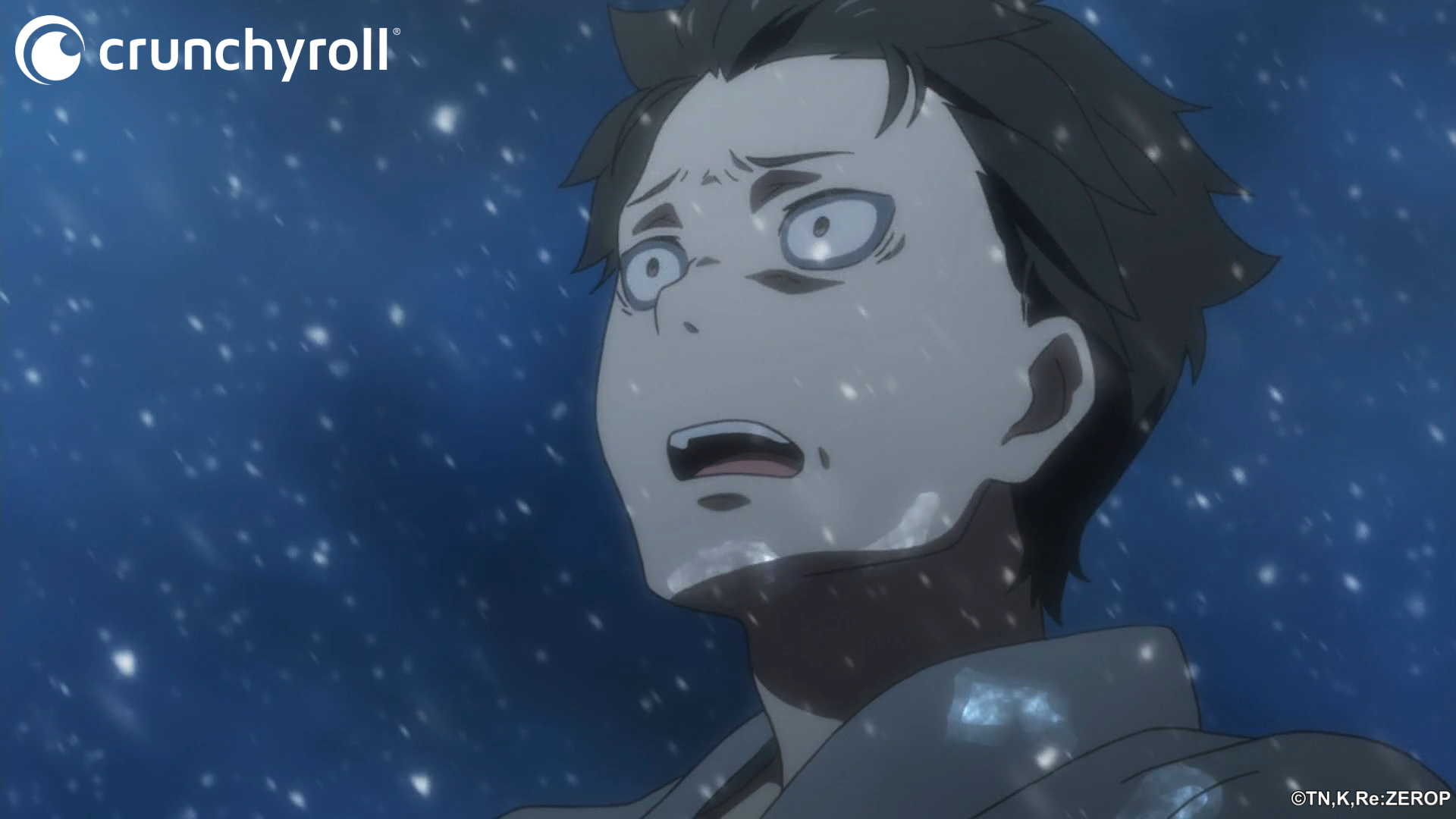Natsuki Subaru begins to freeze solid beneath the icy wrath of Puck in a scene from the Re:ZERO -Starting Life in Another World- TV anime.