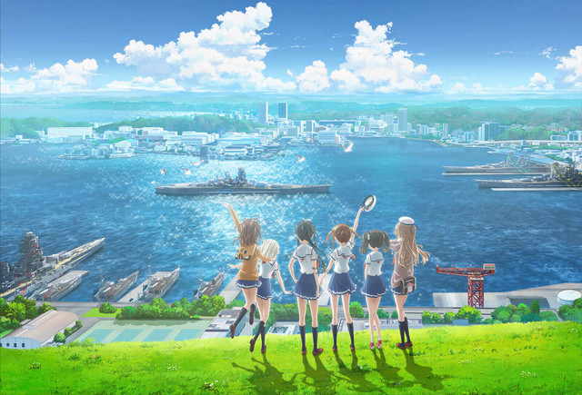 The girls of High School Fleet: The Movie greet their ship as it enters the harbor in a promotional image for the upcoming anime theatrical film.