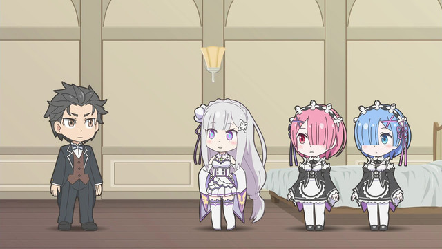A screencap from the Re:ZERO -Starting Life in Another World- Shorts TV anime, featuring a well-dressed, chibi versions of Subaru, Ram, Emilia, and Rem.