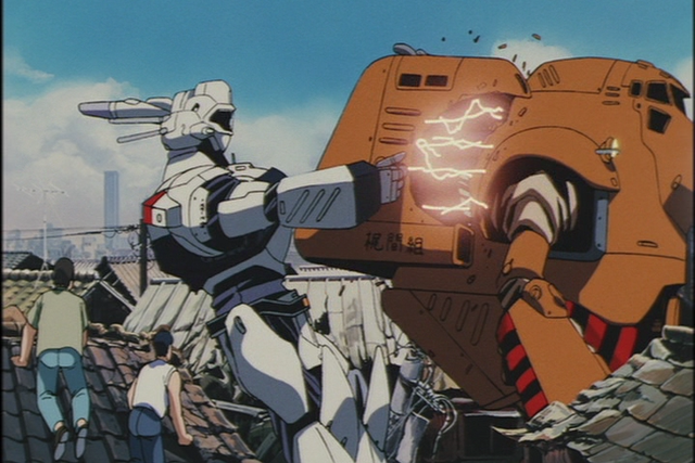 The crew of Special Vehicles Section 2 attempts to apprehend a runaway Labor in Patlabor: The Movie.