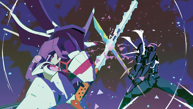 Galo Thymos and Lio Fiota clash sword and staff together while clad in clad in powered-up battle armor in a scene from the 2019 PROMARE theatrical anime film.