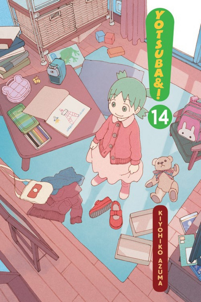 The cover of the 14th collected volume of Yen Press's English language release of the Yotsuba&! manga, featuring artwork by Kiyohiko Azuma.