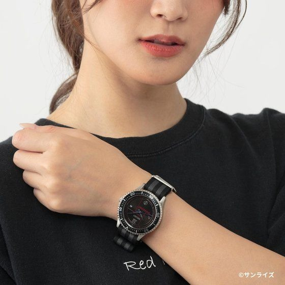 A promotional image of the SEIKO x Cowboy Bebop Wrist Watch, featuring a female model wearing the watch on her wrist.