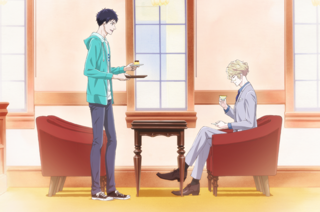 "Seigi Nakata and Richard Ranashinha share a snack in the ""Jewelry Etranger"" shop in a banner image made from the new key visual for the upcoming The Case Files of Jeweler Richard TV anime."