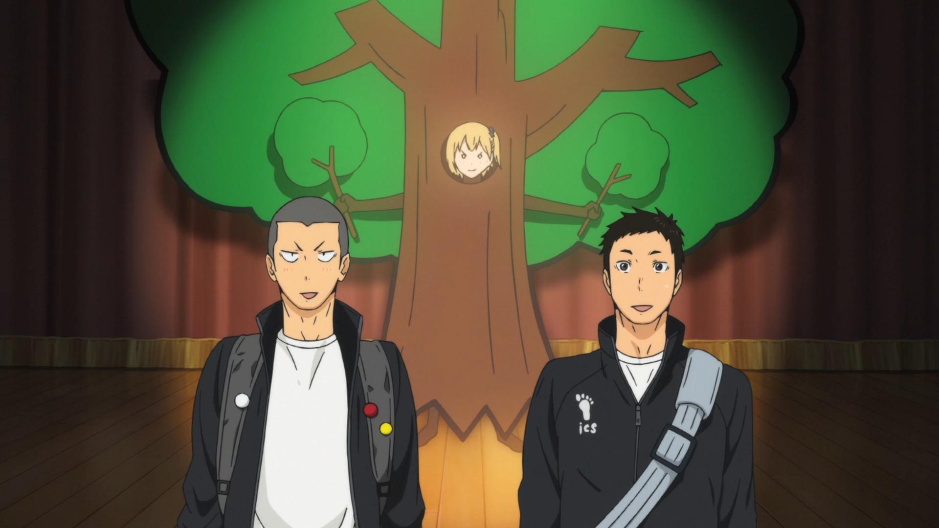 ¡¡Tanaka y Sawamura imaginan a Hitoka Yachi interpretando el papel de un árbol en Haikyu !!