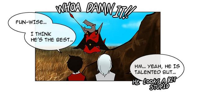In this panel, Rak is upset. Go read more webtoons, you turtles!