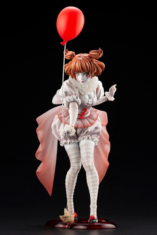 A promotional image for Kotobukiya's Bishoujo Horror Pennywise figure, featuring a cute anime girl version of Pennywise the Dancing Clown from the IT movie adaptations.