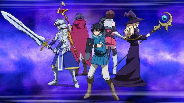 The main cast of the upcoming I'm Standing on a Million Lives TV anime poses with their weapons, armor, and magical items.