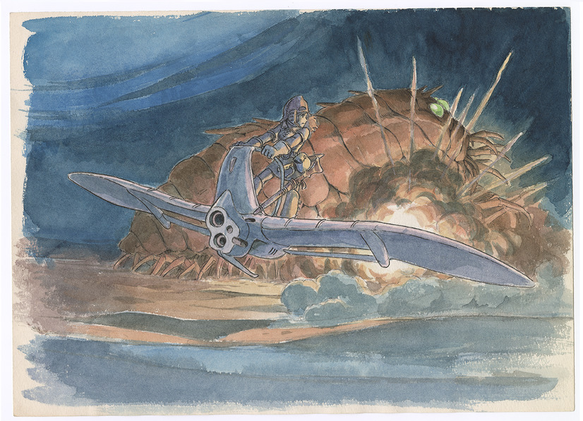 An image setting from the 1984 film, Nausicaa of the Valley of the Wind, as illustrated by Hayao Miyazaki. The setting features Nausicaa piloting her glider while behind her an Ohmu reels after being hit with explosive munitions.