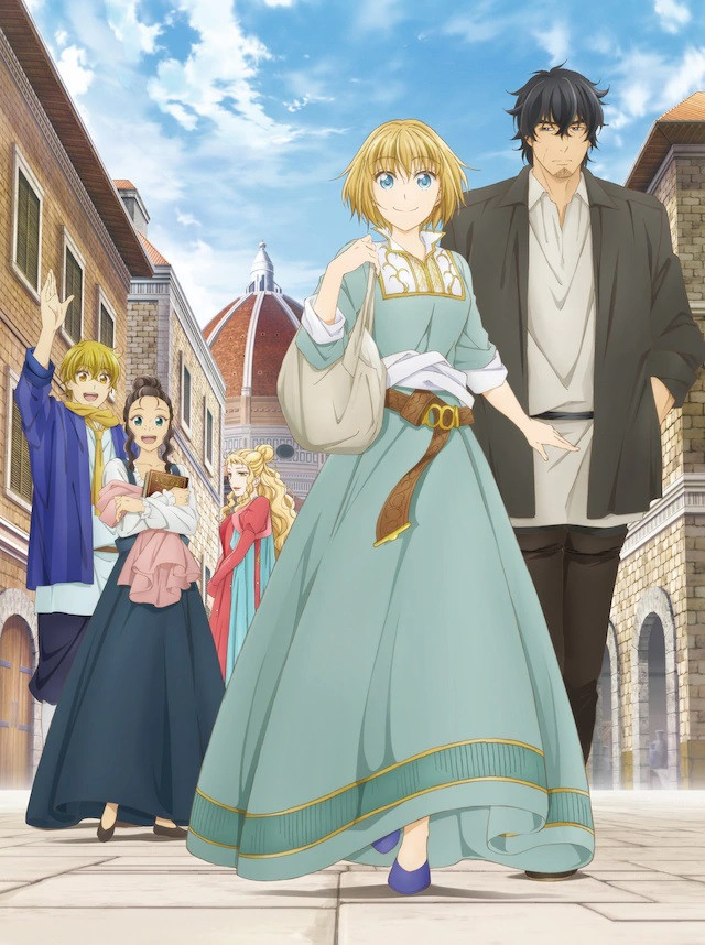 A key visual for the upcoming ARTE TV anime, featuring the main characters Arte, Leo, Angelo, Dacha, and Veronica strolling the streets of Renaissance era Florence.