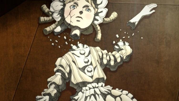 Una muñeca de porcelana de una niña con vestidos mullidos se hace añicos en una escena del próximo anime de televisión Shadows House.