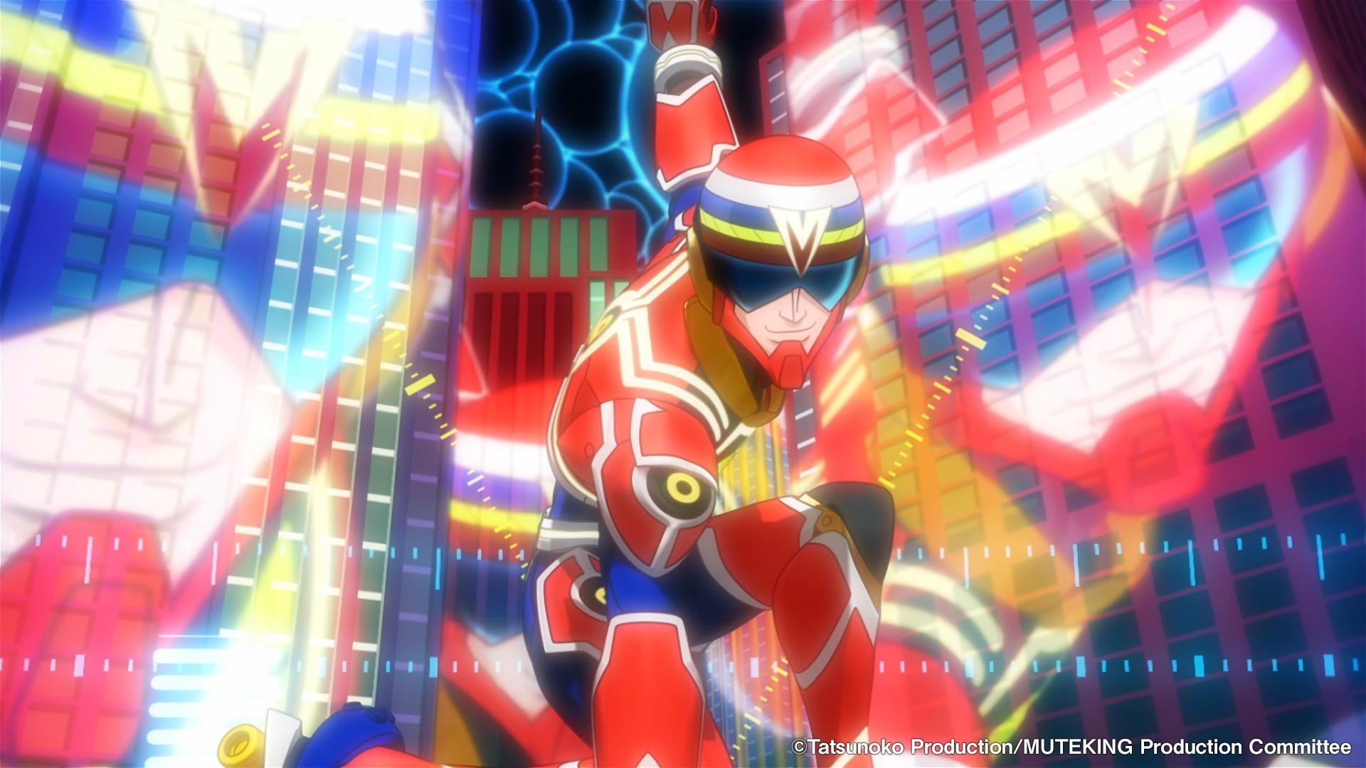 Una captura de pantalla del video de vista previa de la próxima serie televisiva MUTEKING THE Dancing HERO, con el personaje principal en una pose heroica frente a un paisaje urbano futurista.