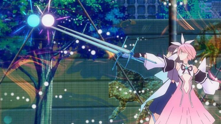 """Hiori Hirahara y Ruka Hanari, transformados en sus """"Reflector"""" formas de batalla de chicas mágicas, cargan sus emociones en una explosión de energía enfocada a través de sus espadas en una escena del próximo anime BLUE REFLECTOR RAY / Mio TV."""