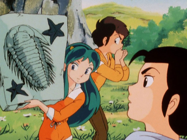 Lum and Ataru show Mendou an image of a trilobite in an episode of the Urusei Yatsura TV anime.