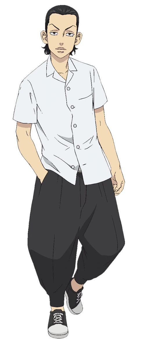 A character setting of Makoto Suzuki, a delinquent with slicked-back hair and preened eyebrows from the upcoming Tokyo Revengers TV anime.