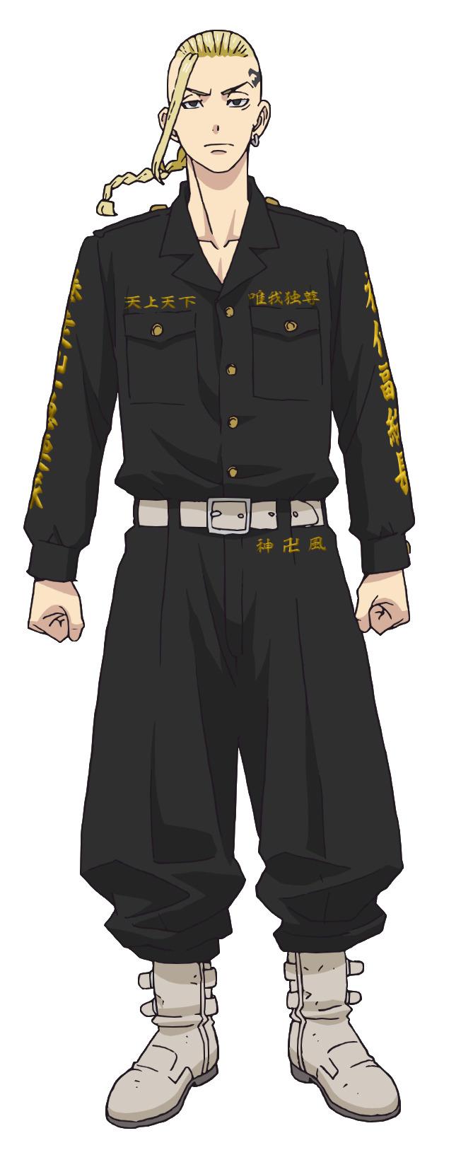 Un escenario de personajes de Ken Ryuguji, un delincuente juvenil con un dragón tatuado en su sien, del próximo anime de televisión Tokyo Revengers.
