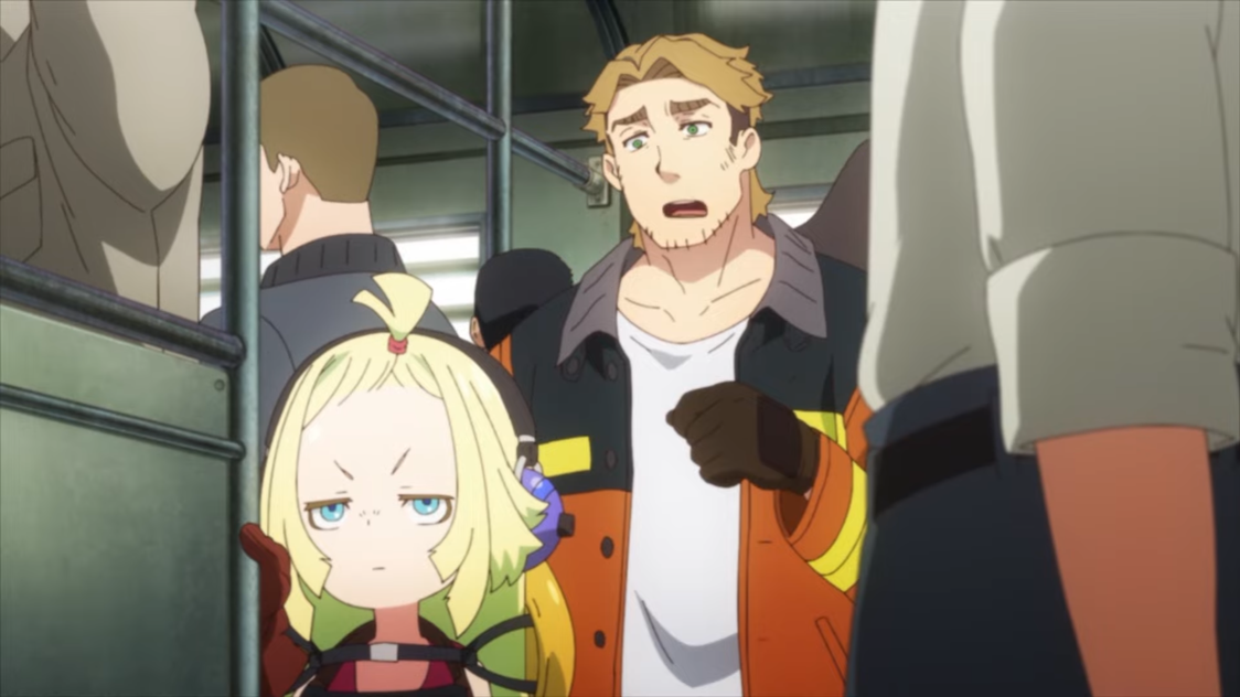 Memempu and Gagumber share an awkward train ride into town in a scene from the upcoming SAKUGAN TV anime.