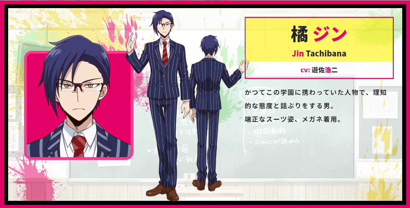 A character setting of Jin Tachibana from the upcoming Talentless Nana TV anime.