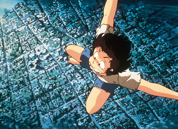 Ataru Moroboshi plummets from a great height in a dream sequence from Urusei Yatsura 2: Beautiful Dreamer.