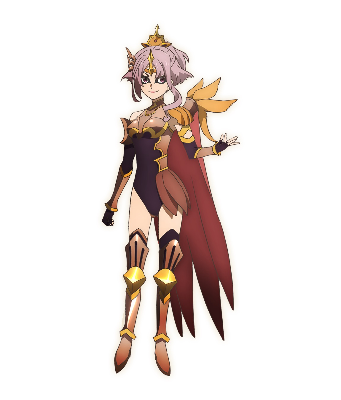 A character setting of Reda from the SEVEN KNIGHTS REVOLUTION: Hero Successor TV anime. Reda appears as a small-framed, pink-haired woman in form-revealing sorcerous armor and a cape. Her eyes are outlined with dark eye-liner, and she sports a villainous smirk.