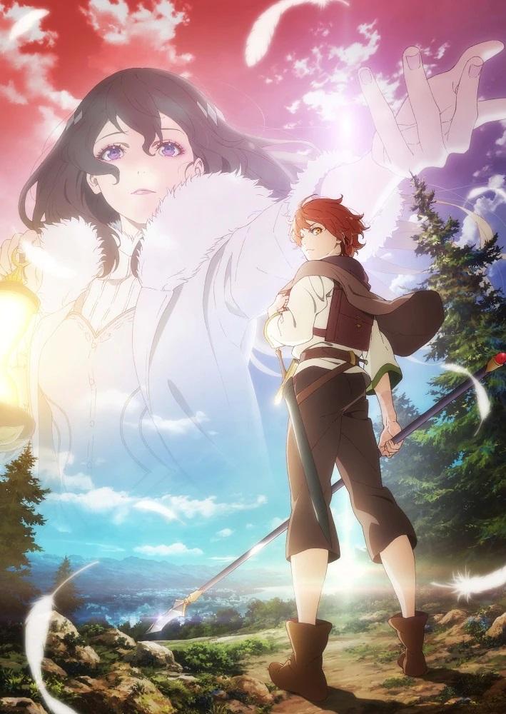 Una imagen clave para el próximo anime televisivo The Faraway Paladin, con el héroe, Will, vestido de aventurero y portando una espada y una lanza embarcándose en un viaje a través del desierto mientras una visión de la diosa Gracefeel lo invita a seguir adelante.