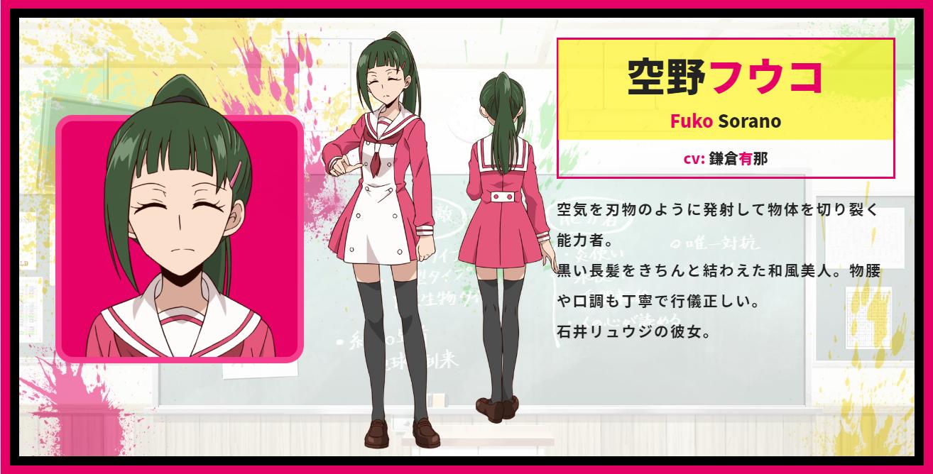 A character setting of Fuko Sorano from the upcoming Talentless Nana TV anime.