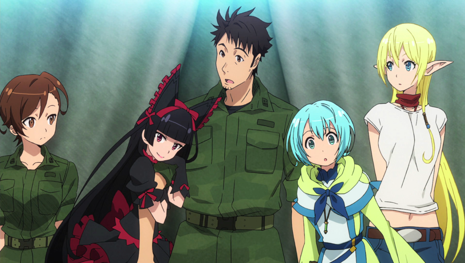 Yoji Itami is surprised by his parallel world companions Rory Mercury, Tuka Luna Marceau, and Lelei La Lelena in a scene from the opening animation of the 2015-2016 GATE TV anime.