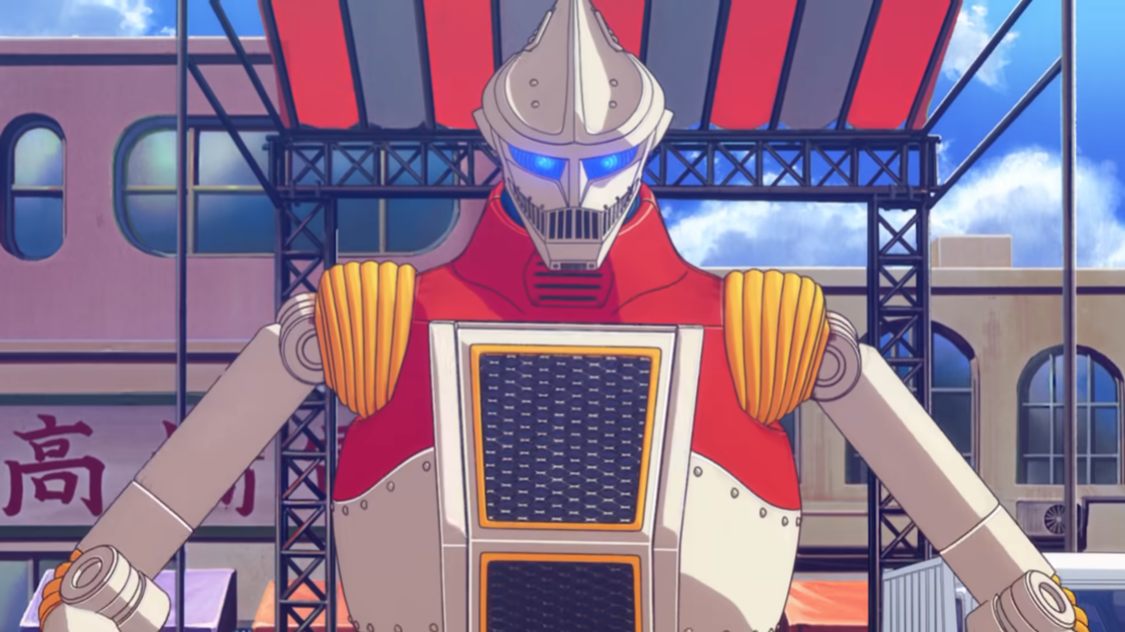 El robot humanoide Jet Jaguar se muestra frente a un escenario estilo soporte de banda en una escena del próximo anime Godzilla Singular Point.