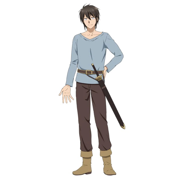 A character setting of Hawthorne, a human knight dressed in a simple outfit of shirt, breeches and boots with a sword at his hip from the upcoming Peach Boy Riverside TV anime.