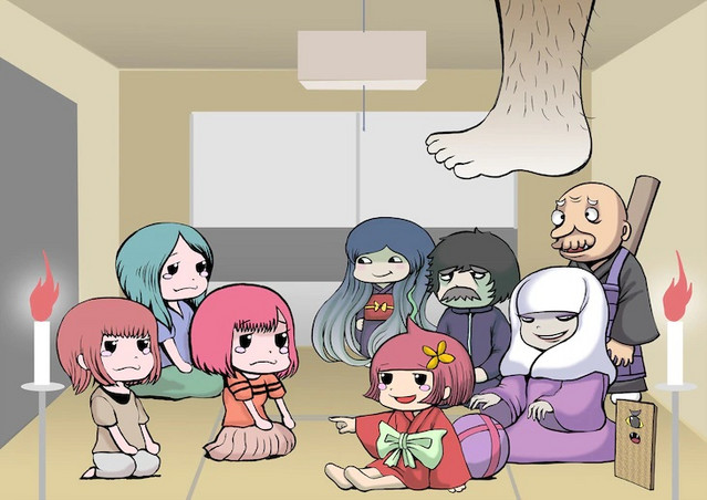 A key visual for the proposed Zashiki-warashi no Tatami-chan mini-anime, featuring the human hosts and their ghostly guests sharing a run-down Tokyo apartment.