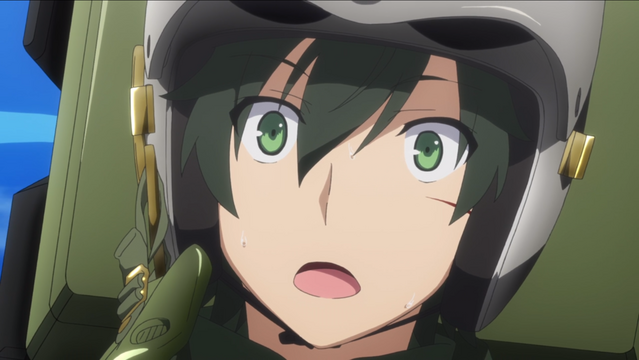 Kei Narutani is shocked by a strange development on the aerial battlefield in a scene from the Girly Air Force TV anime.