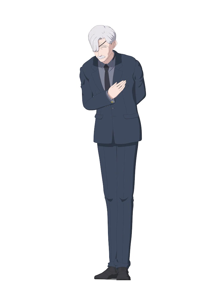 A character setting of Rob from the upcoming The Duke of Death and His Maid TV anime. Rob appears as a gentlemanly butler in his later years with gray hair, a gray mustache, and an eyepatch covering his right eye.