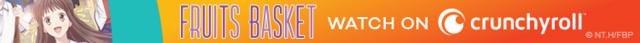 Tohru Honda from Fruits Basket smiles for a Crunchyroll ad banner.