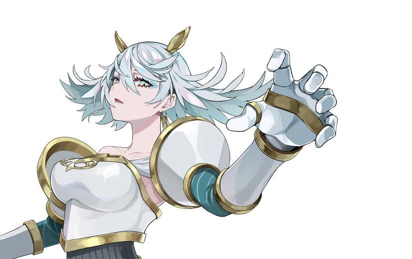 """Un escenario de personajes de """"Valquiria"""", una heroína del próximo takt op.  Anime de TV.  Valkyrie es representada como una mujer con armadura con cabello blanco iridiscente y ojos verde pálido.  Lleva un adorno de pelo dorado que se asemeja a orejas de caballo y está vestida con una coraza, hombreras y guanteletes de color blanco y dorado."""