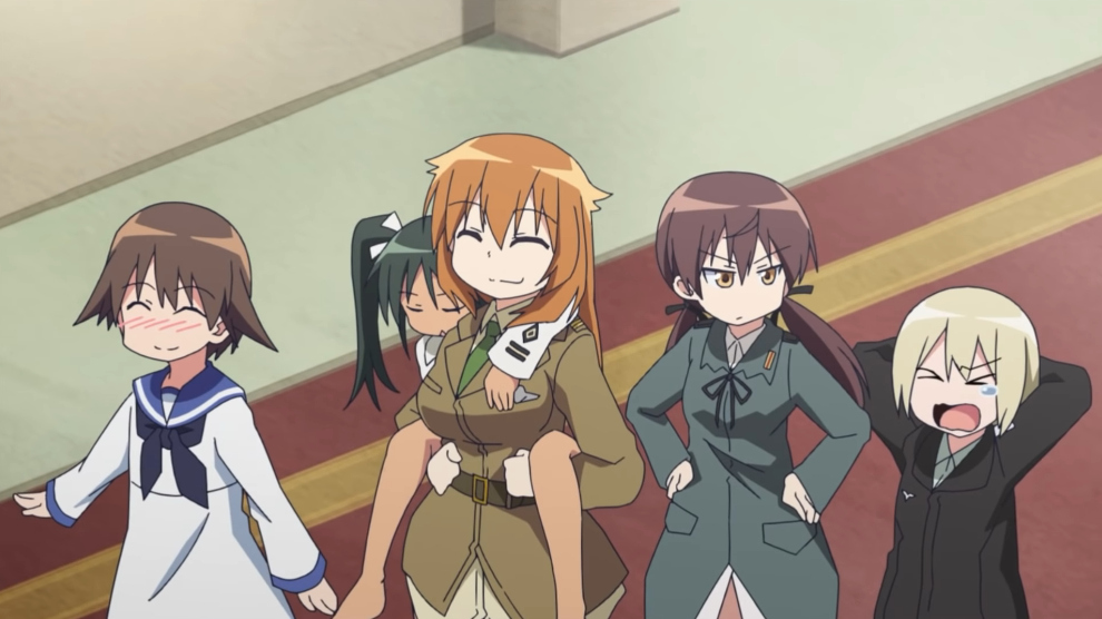 The main cast of the 2019 Strike Witches: 501st JOINT FIGHTER WING Take Off! TV anime goofs around in a scene from the trailer for the series.