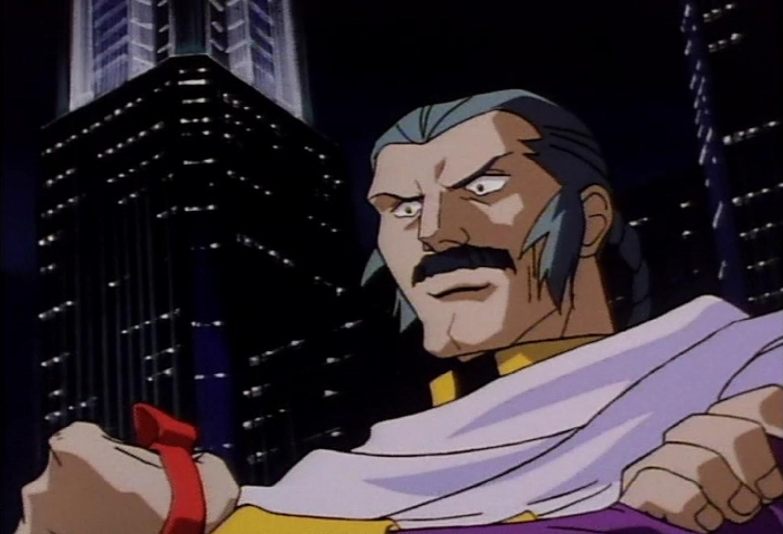 Master Asia hace una entrada dramática en una escena del anime de televisión Mobile Fighter G-Gundam.