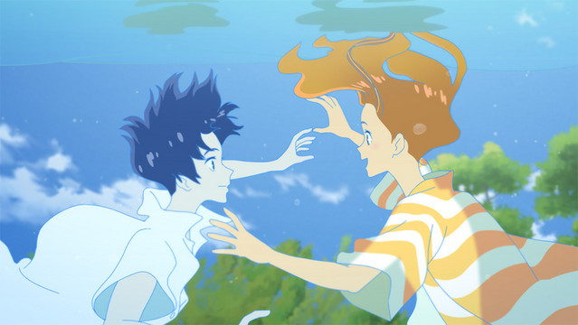A promotional image from the 2019 anime theatrical film, Ride Your Wave, featuring the two main characters meeting underwater.